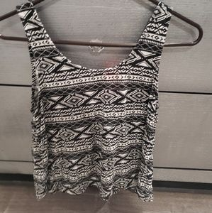 Aztec print tank top with open back and bow